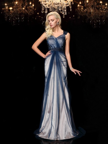Fashion Sheath/Column Applique Sleeveless Straps Long Elastic Woven Satin Dresses