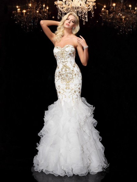 Stylish Trumpet/Mermaid Beading Sleeveless Sweetheart Long Organza Dresses