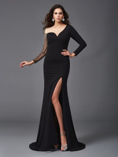 Fashion Sheath/Column Beading 3/4 Sleeves Scoop Long Spandex Dresses