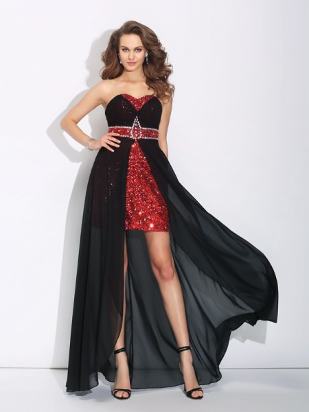Stylish A-Line/Princess Sequin Sleeveless Sweetheart High Low Chiffon Dresses