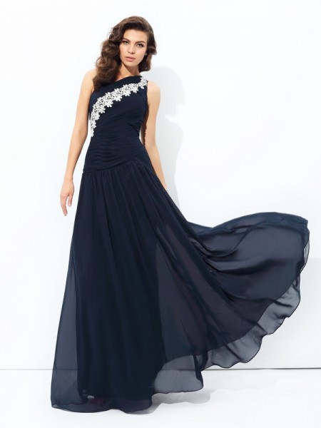 Stylish A-line/Princess Applique Sleeveless One-Shoulder Long Chiffon Dresses