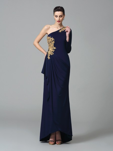 Fashion Sheath/Column Embroidery Long Sleeves One-Shoulder Long Spandex Dresses