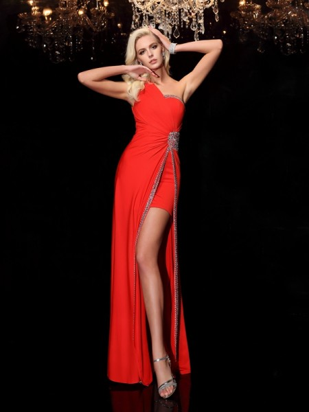 Stylish Sheath/Column Beading Sleeveless One-Shoulder Long Spandex Dresses