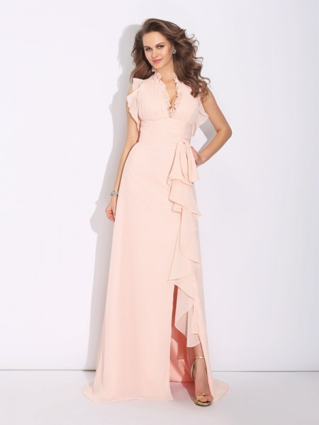 Stylish A-Line/Princess Ruffles Sleeveless High Neck Long Chiffon Dresses