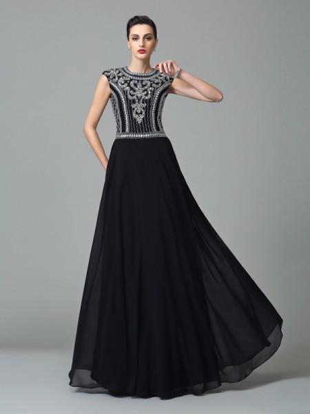 Fashion A-Line/Princess Beading Short Sleeves Jewel Long Chiffon Dresses