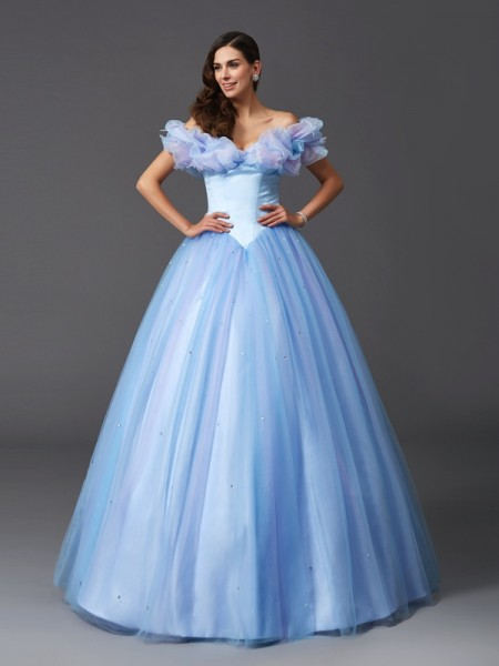 Stylish Ball Gown Beading Sleeveless Off-the-Shoulder Long Net Quinceanera Dresses