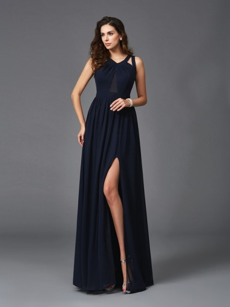 Fashion A-Line/Princess Sleeveless Long Straps Chiffon Dresses