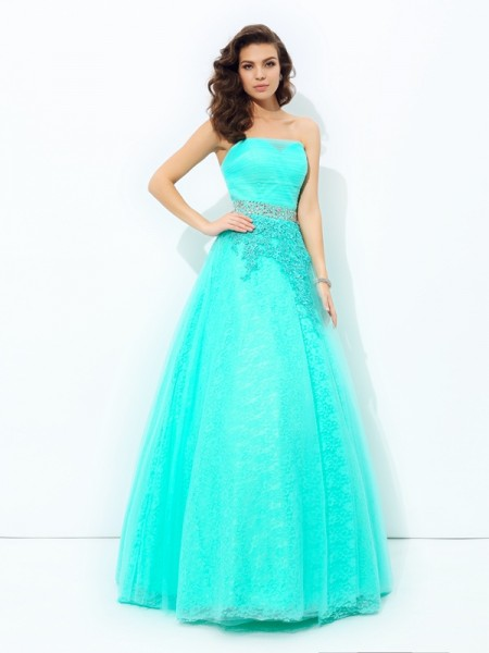 Fashion A-line/Princess Beading Sleeveless Strapless Long Elastic Woven Satin Dresses