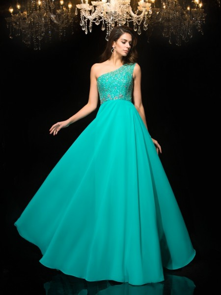 Fashion A-Line/Princess Beading Sleeveless One-Shoulder Long Chiffon Dresses