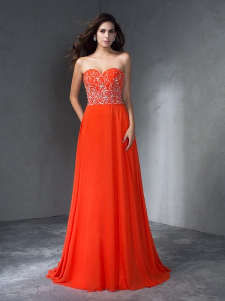 Stylish A-Line/Princess Sweetheart Long Sleeveless Beading Chiffon Dresses