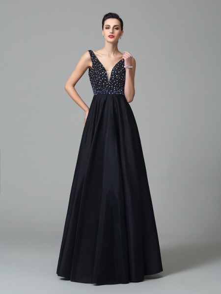 Stylish A-Line/Princess Beading Sleeveless Straps Long Taffeta Dresses