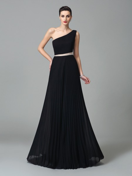 Fashion A-Line/Princess Pleats Sleeveless One-Shoulder Long Chiffon Dresses