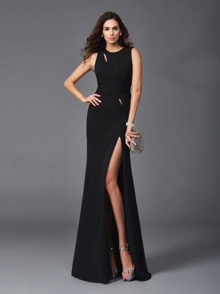 Fashion Sheath/Column Beading Sleeveless Scoop Long Chiffon Dresses
