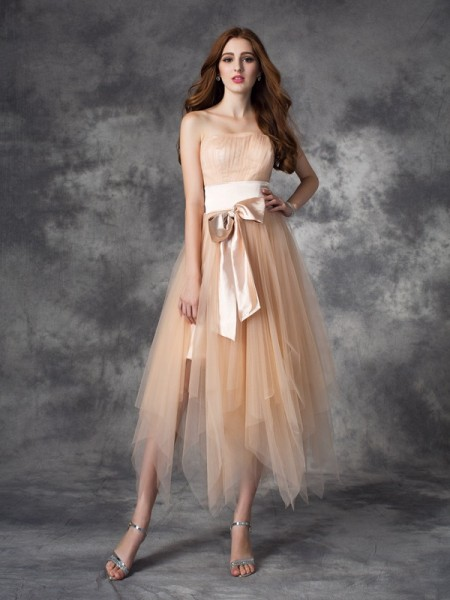 Stylish A-line/Princess Bowknot Sleeveless Strapless Long Elastic Woven Satin Dresses