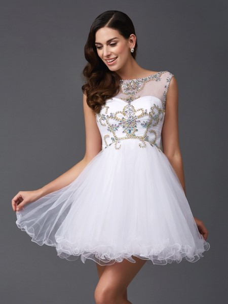 Stylish A-Line/Princess Beading Sleeveless Scoop Short Net Dresses