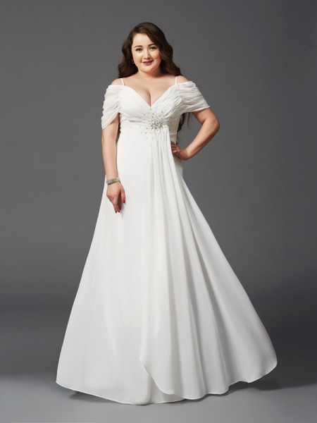 Chiffon wedding dress plus size