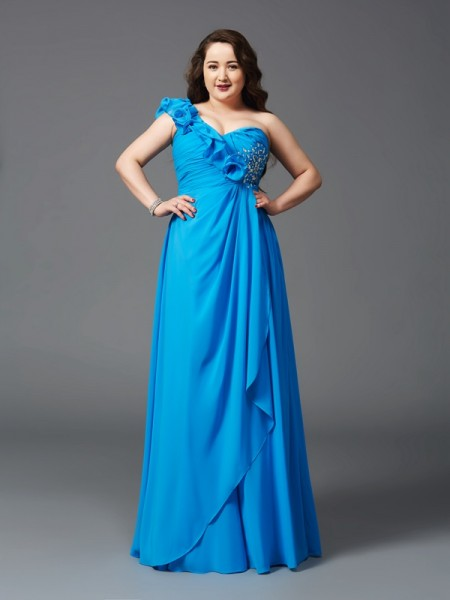 Fashion A-Line/Princess Rhinestone Sleeveless One-Shoulder Long Chiffon Plus Size Dresses
