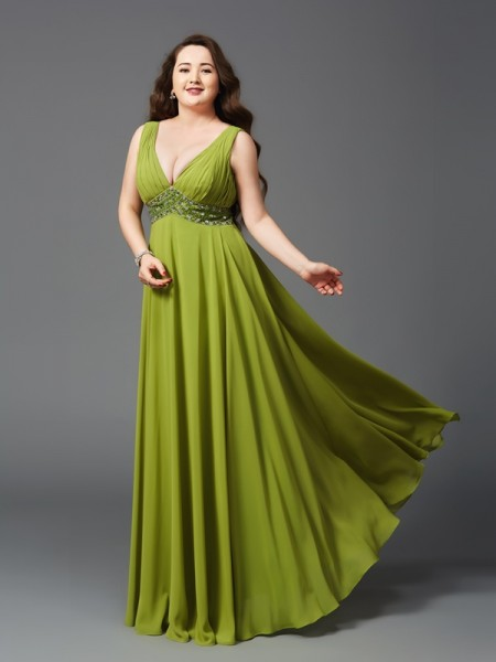 Stylish A-Line/Princess Rhinestone Sleeveless Straps Long Chiffon Plus Size Dresses