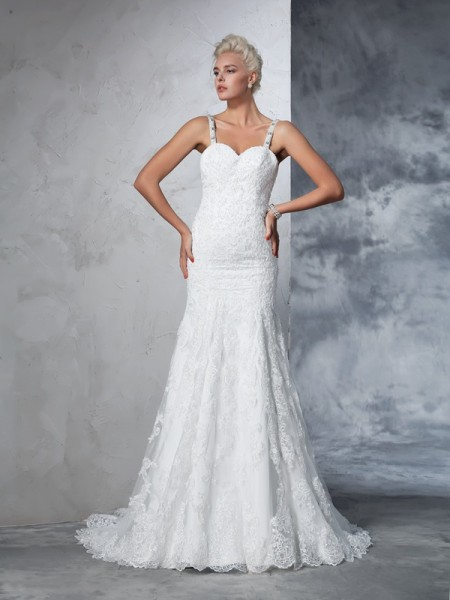 Fashion Trumpet/Mermaid Straps Lace Spaghetti Sleeveless Long Lace Wedding Dresses