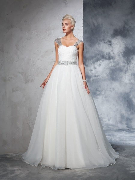 Fashion Ball Gown Ruched Sleeveless Straps Long Net Wedding Dresses