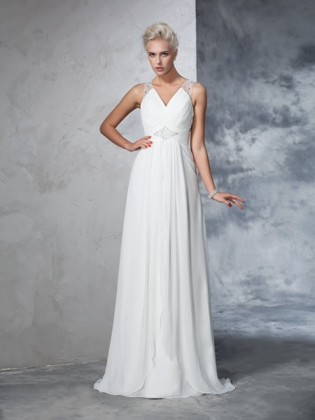 Fashion A-Line/Princess Ruched Sleeveless V-neck Long Chiffon Wedding Dresses