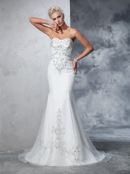Fashion Trumpet/Mermaid Beading Sleeveless Sweetheart Long Satin Wedding Dresses
