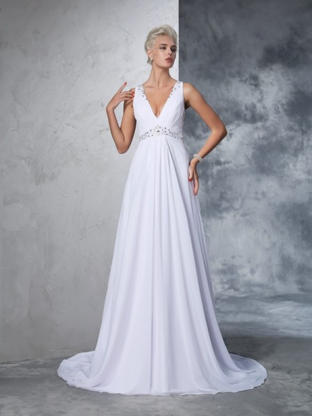Stylish A-Line/Princess Beading Sleeveless V-neck Long Chiffon Wedding Dresses