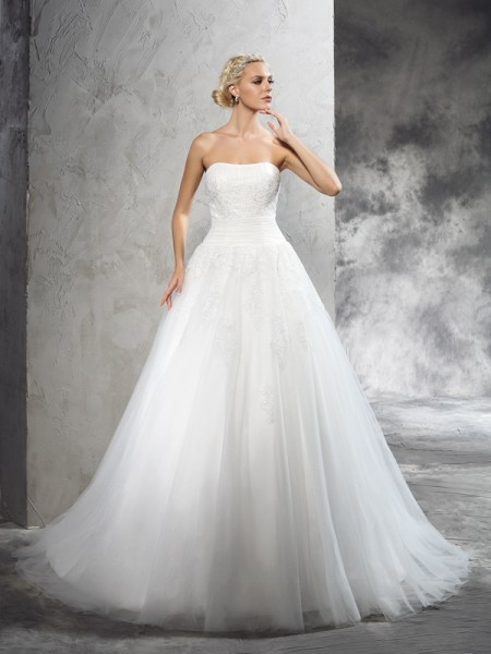 Stylish Ball Gown Applique Sleeveless Strapless Long Satin Wedding Dresses