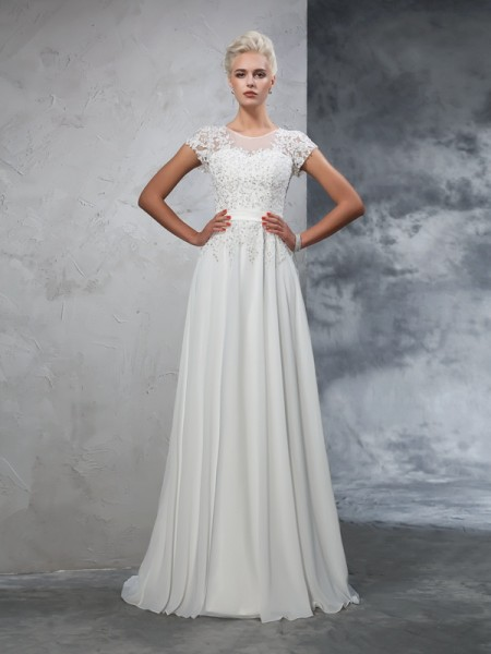 Stylish A-Line/Princess Applique Short Sleeves SheerNeck Long Chiffon Wedding Dresses
