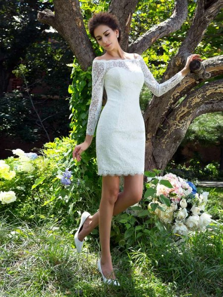 Fashion Sheath/Column Long Sleeves Short Scoop Satin Wedding Dresses