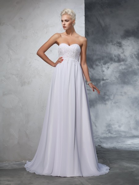 Stylish A-Line/Princess Beading Sleeveless Sweetheart Long Chiffon Wedding Dresses