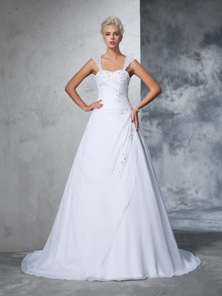 Stylish Ball Gown Applique Sleeveless Straps Long Chiffon Wedding Dresses