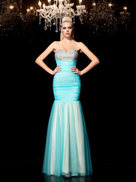 Fashion Sheath/Column Sequin Sleeveless Sweetheart Long Net Dresses