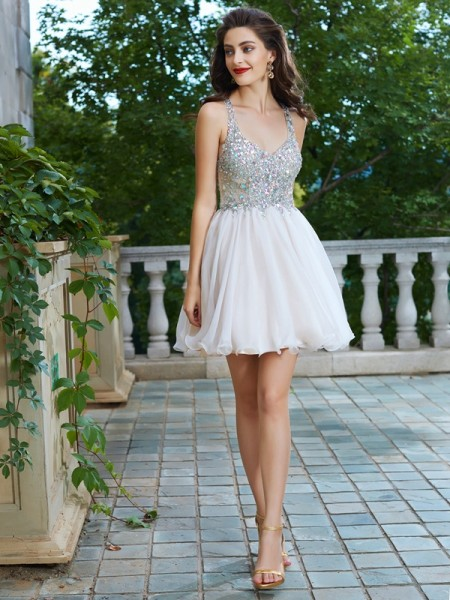 Fashion A-Line/Princess Sleeveless Rhinestone Straps Short/Mini Chiffon Dresses