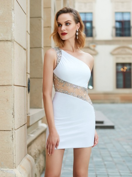 Stylish Sheath/Column Beading Sleeveless One-Shoulder Short/Mini Net Dresses