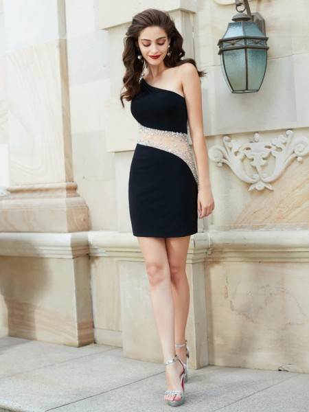 Fashion Sheath/Column Sleeveless Beading One-Shoulder Short/Mini Net Dresses