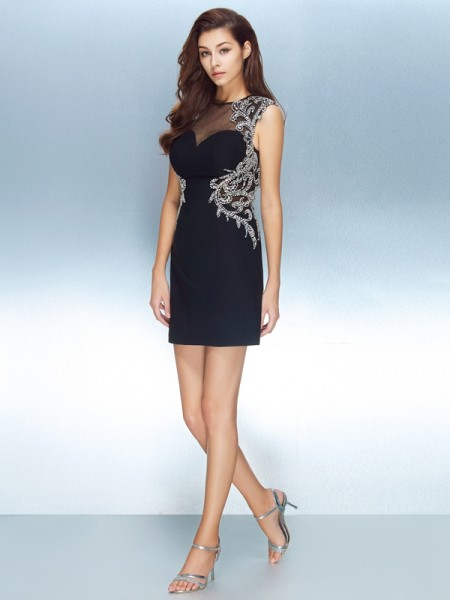Fashion Sheath/Column Short Sleeves Net Jewel Crystal Short/Mini Dresses