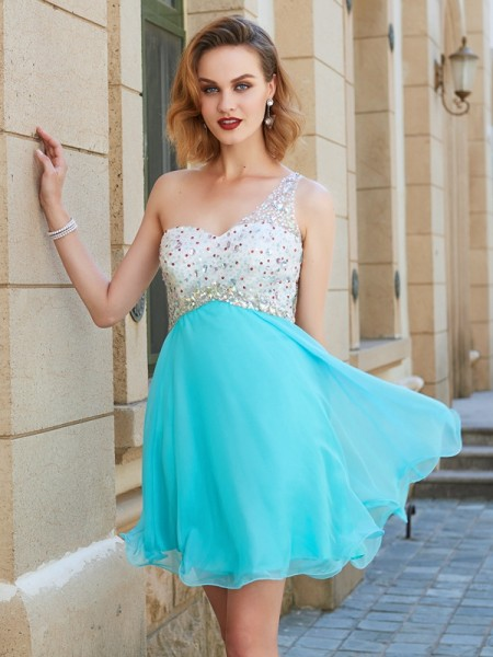 Fashion A-line/Princess One-Shoulder Beading Sleeveless Chiffon Short/Mini Dresses