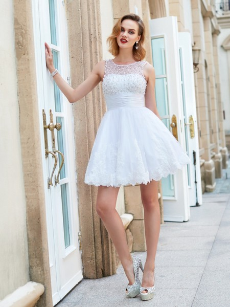 580c2ff788ad1 Stylish A-Line/Princess Sleeveless Pearls Jewel Short/Mini Lace Dresses