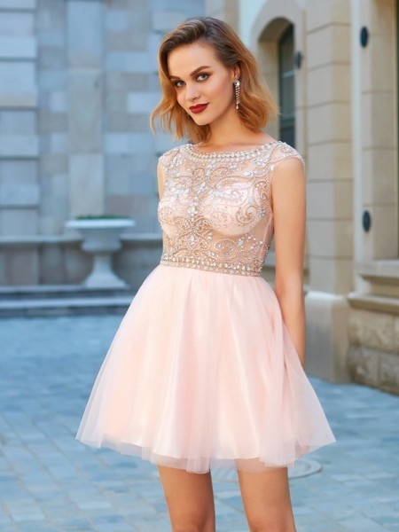 Stylish A-Line/Princess Net Short Sleeves Scoop Beading Short/Mini Dresses