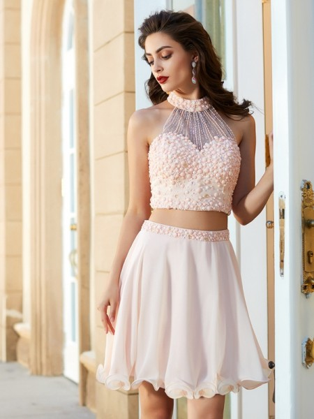 Stylish A-Line/Princess Beading Sleeveless Halter Chiffon Short/Mini Two Piece Dresses