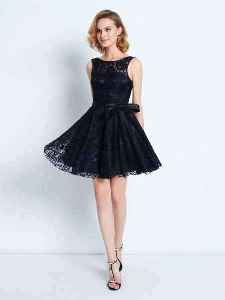Stylish A-Line/Princess Lace Sleeveless Scoop Sash/Ribbon/Belt Short/Mini Dresses
