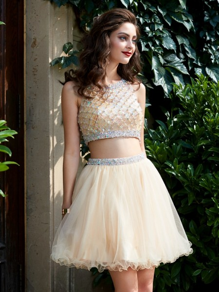 09bf5485405 Stylish A-Line Princess Net Sleeveless Scoop Beading Short Mini Two Piece  Homecoming