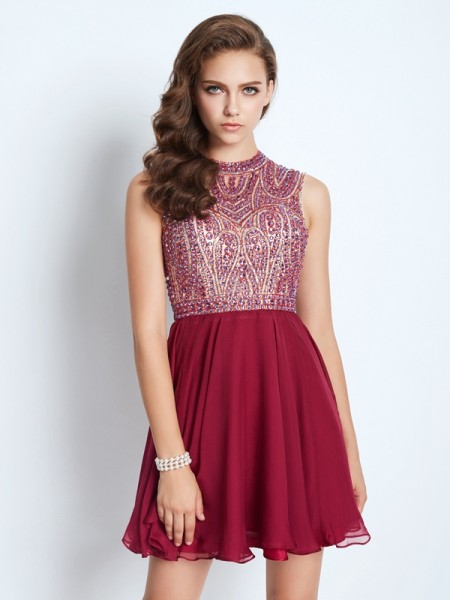Fashion A-Line/Princess Sleeveless Chiffon Jewel Beading Short/Mini Dresses