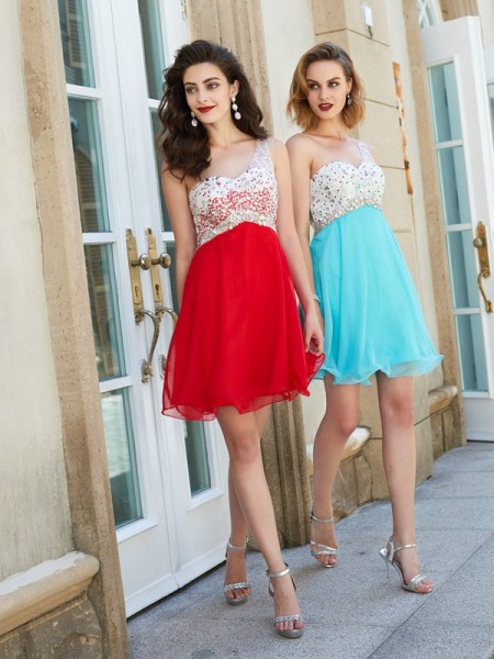 Stylish A-line/Princess One-Shoulder Beading Chiffon Sleeveless Short/Mini Dresses