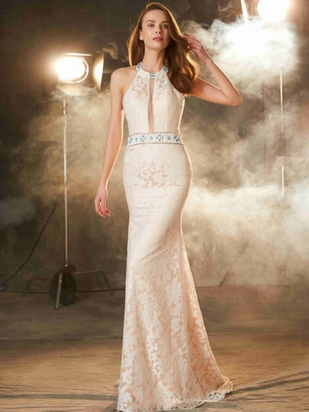Fashion Sheath/Column Sleeveless Floor-Length Halter Lace Satin Dresses