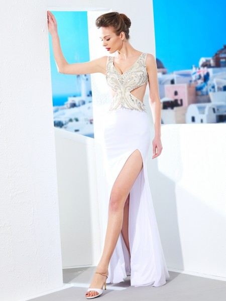 Stylish Sheath/Column Sleeveless Beading V-neck Floor-Length Spandex Dresses