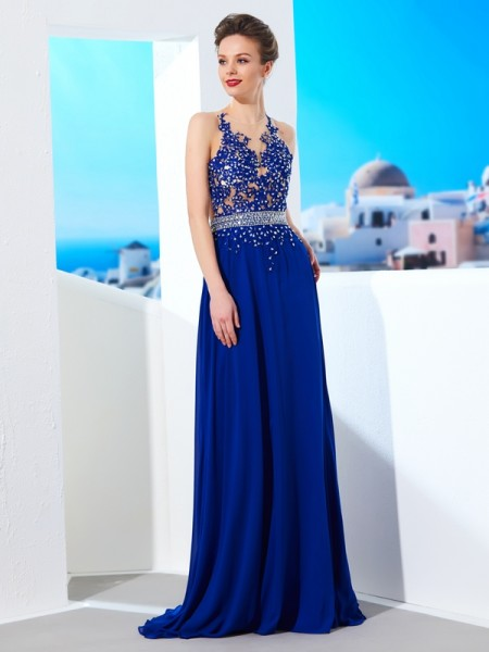 Fashion A-Line/Princess SheerNeck Chiffon Sleeveless Applique Sweep/Brush Train Dresses