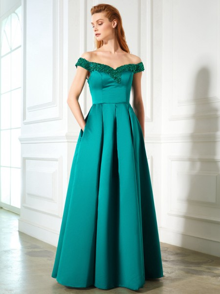 Fashion A-Line/Princess Sequin Sleeveless Off-the-Shoulder Satin Floor-Length Dresses