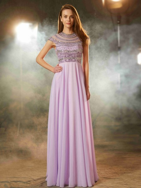 Fashion A-Line/Princess Short Sleeves Floor-Length Scoop Beading Chiffon Dresses